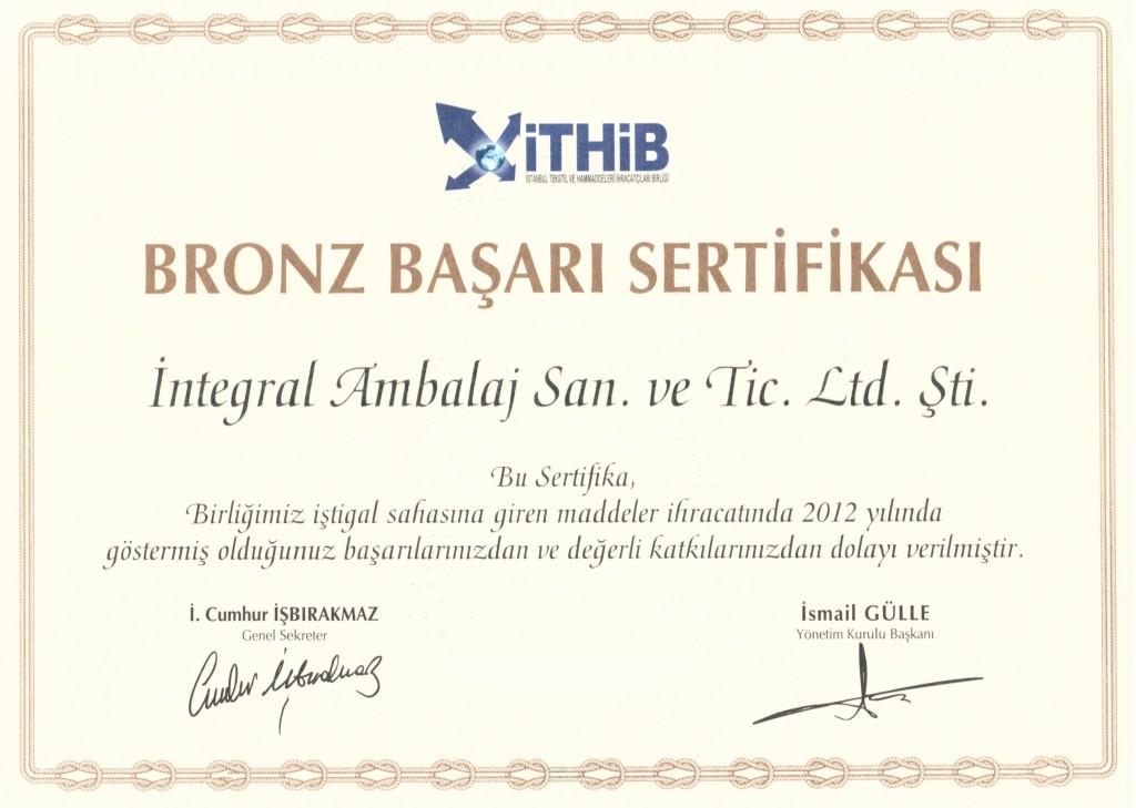 İntegral Ambalaj 2012 Başarı Sertifikası